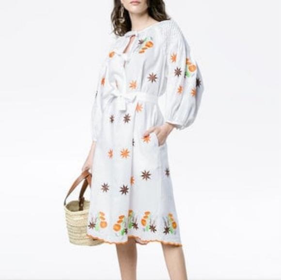 8fe73611324 Innika Choo Avens Midi White Linen Smock Dress